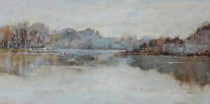 """Soft Waters"" by Kathie Odom Oil on Linen, 10"" x 20"""