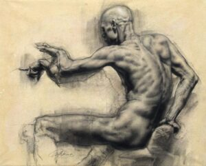 Man Reaching, charcoal on paper