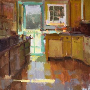 """Cottage Kitchen"", 16x16 oil on linen"