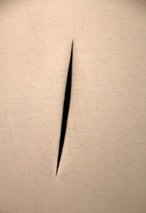 "In 1960, Lucio Fontana displayed an artwork that was simply a slashed canvas. This was about as empty as a canvas could get. ""Concetto spaziale attese"", by Lucio Fontana,1960"