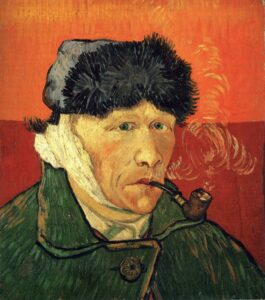 "Van Gogh after allegedly slicing his ear off. ""Self Portrait with Bandaged Ear"", by Vincent Van Gogh, 1889"