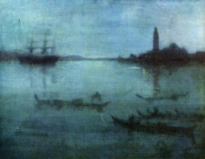 """Nocturne in Blue and Silver, The Lagoon, Venice"", by James Abbott McNeill Whistler, 1880"