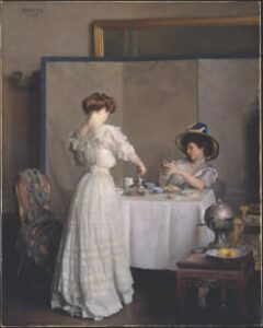 William McGregor Paxton, Tea Leaves, Oil on Canvas, 1909, Metropolitan Museum of Art