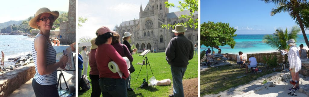 Christine Lashley and students on location (L to R: French Riviera demo, US National Cathedral demo, students painting in the Bahamas)