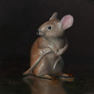 M is for Mouse, 4x4, oil on panel