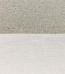 Extreme close-up comparison of Claessens 13 DP linen (top) with gessoed silk panel (bottom).