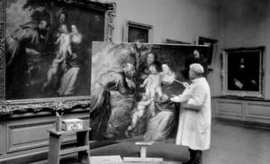 A copyist at work in the European Paintings galleries of the met museum