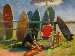 """One Man Surf Show"" - 12"" x 16"" - Oil (Honorable Mention, Plein Air Southwest Salon - 2016)"