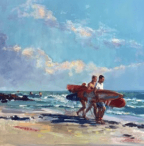 "Good Day for Surfing 12"" x 12"" Oil"