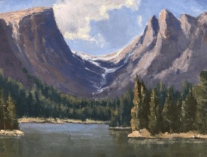 """""""Morning at Dream Lake"""", 12x16 oil on canvas - painted using a limited palette"""