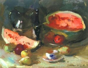 """Still Life With Watermelon"" by  Sergei Bongart"