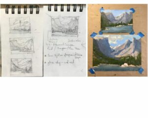 Sketches and color studies.