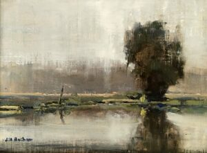 Morning Fog, 9x12 oil on linen. Painted during Plein Air Easton