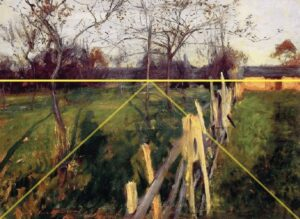 But again, back to Home Fields and Sargent – The Mechanics… Let's start by looking at where Sargent placed the virtual horizon line in this painting. (The yellow horizontal line.)